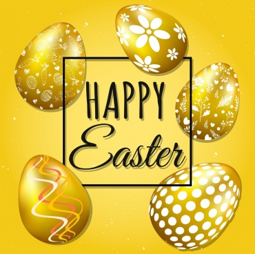 easter banner shiny golden decorated eggs icons