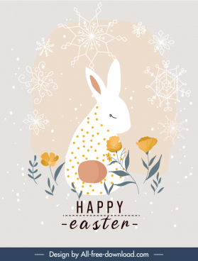easter banner snowflakes bunny floral decor flat sketch
