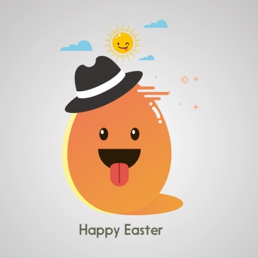 easter banner stylized egg sun icons colorful cartoon