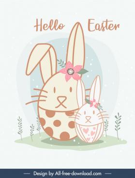 easter banner template bunnies sketch flat handdrawn