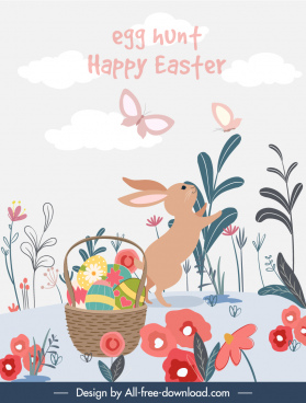 easter banner template colorful flat nature elements decor