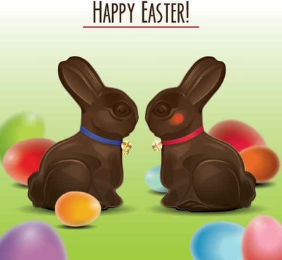 Easter Bunnies Vector Graphic