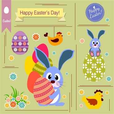 easter card decoration with rabbit chicken and eggs