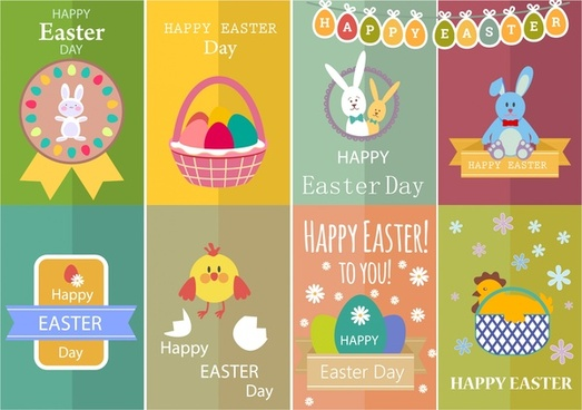 easter card sets with cute colored design style