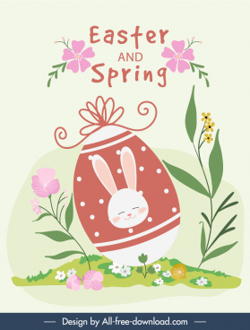 easter card template colorful flat flora eggs sketch