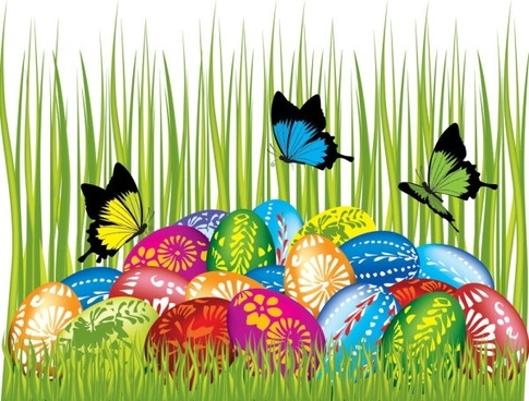 easter cards and decorations butterfly eggs 04 vector
