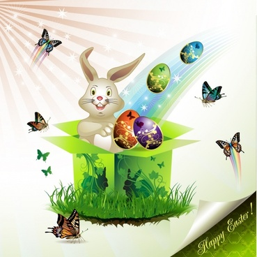 easter background modern sparkling bunny eggs butterflies decor