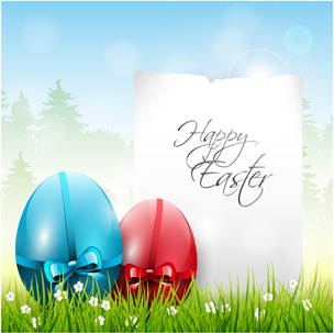 easter color egg and green grass vector