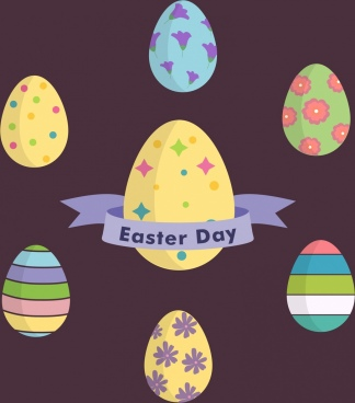 easter day background colorful decorative eggs icons