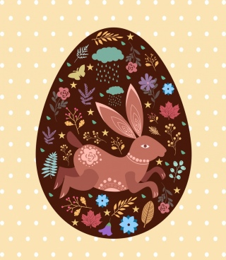 easter egg background rabbit flowers pattern decor