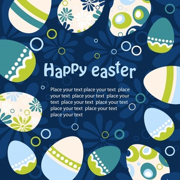 easter banner flat decorated eggs circle layout
