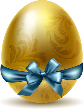 easter egg ornament with bow and floral