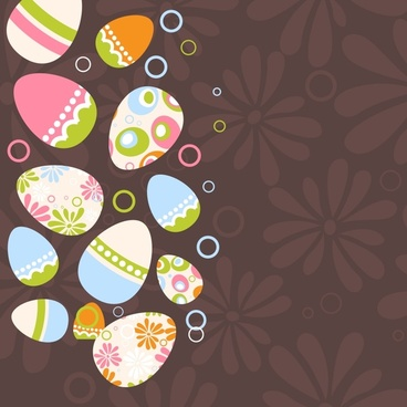 easter background colorful flat eggs blurred floral decor