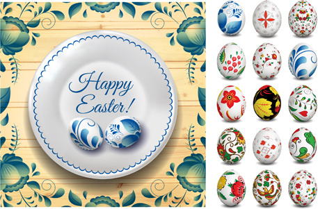 easter egg with floral art vector