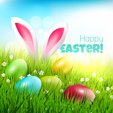 easter egg with grass background art vector
