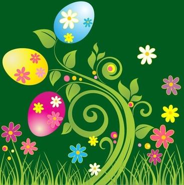 Easter Egg with Green Floral Vector Illustration