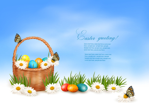 easter eggs and basket vector