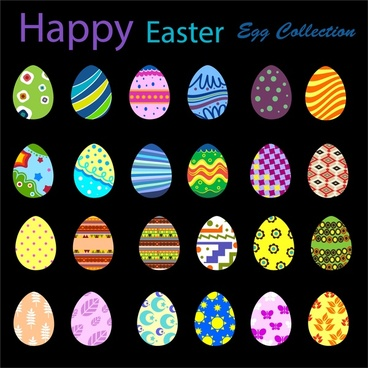 easter eggs collection design with various colors