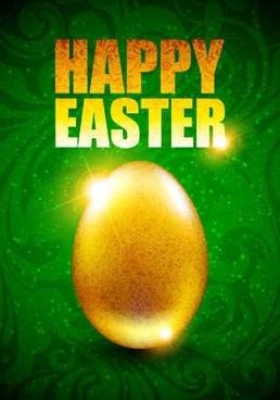 Easter eggs green background