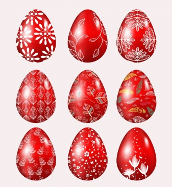 easter eggs icons shiny red design natural decor