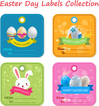 easter labels collection with eggs and rabbit illustration