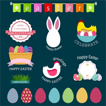 easter ornament design elements in color flat style