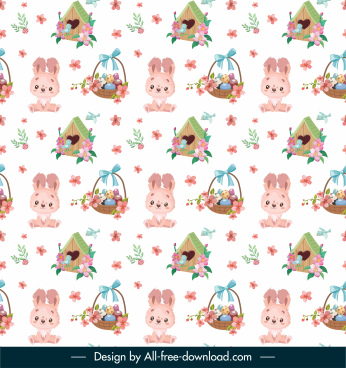 easter pattern template repeating bunny eggs house decor