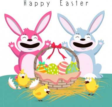 easter poster cute bunny chick basket eggs icons