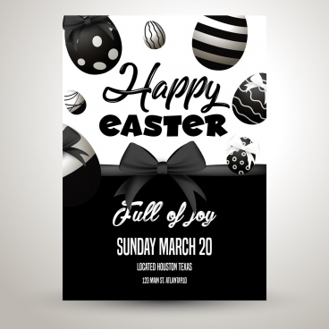 easter poster eggs knot decor black white design