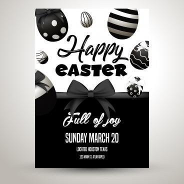 easter poster eggs knot decor black white design