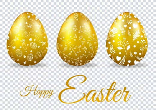 easter poster shiny golden eggs decoration