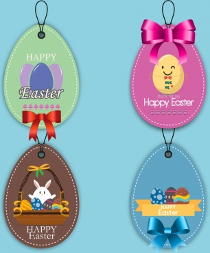 easter tags collection colorful shiny decoration rounded design