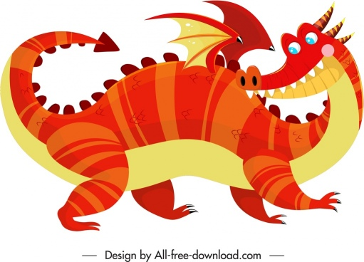 eastern dragon icon funny cartoon character sketch