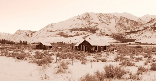 eastern sierra winter old homes