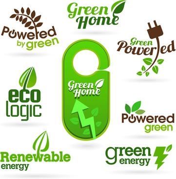 eco and bio creative logos vector