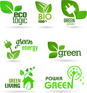 eco and bio creative logos vector