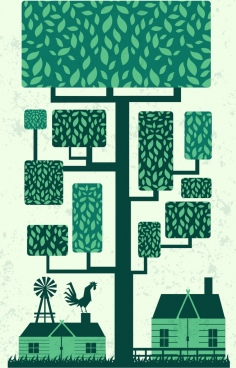 eco background green design tree houses icons