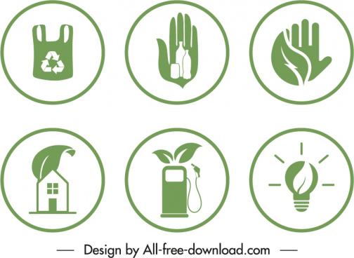 eco badge templates circle shapes green flat symbols