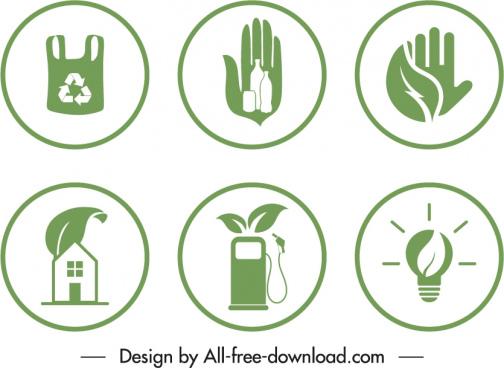 eco badge templates circle shapes green flat symbols