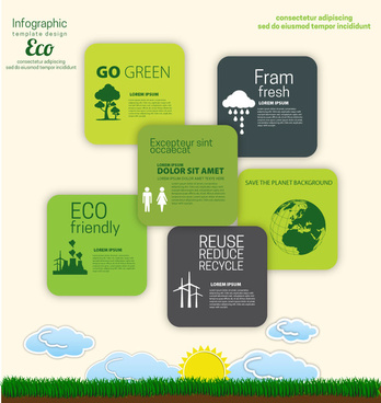 eco banner design with infographic template illustration