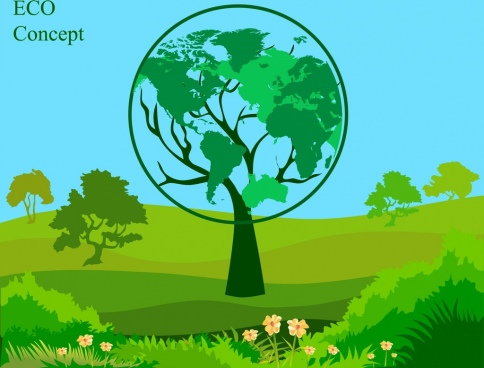 eco banner green trees decoration globe icon
