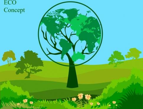 eco banner green trees decoration globe icon