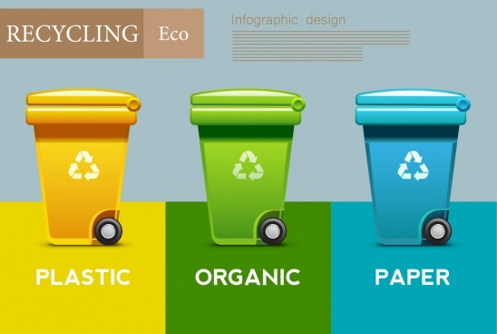 eco banner shiny multicolored dustbin icons