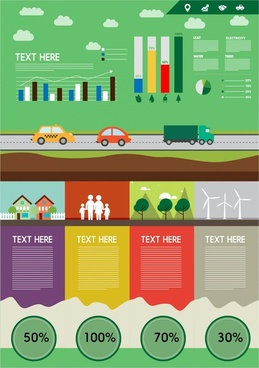 eco banner vector illustration with infographic and charts