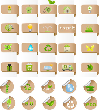 eco bio label and badge set