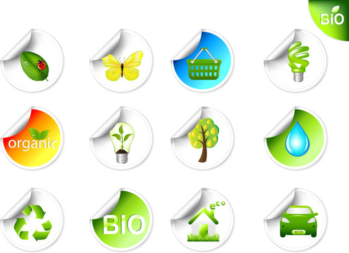 eco bio sticker icon set