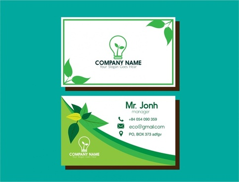 eco business card green leaf and bulb design