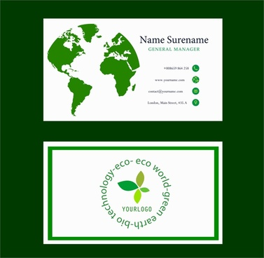 eco business card green map circle words design