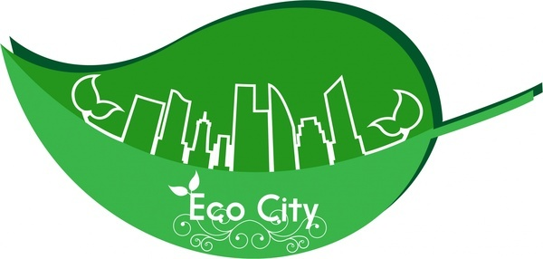 eco city banner green leaf and city sketch
