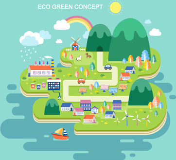 eco city concept template vector
